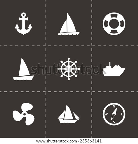 Vector ship and boat icon set on black background - stock vector