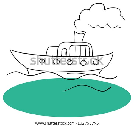 Vector ship and the sea on a white background