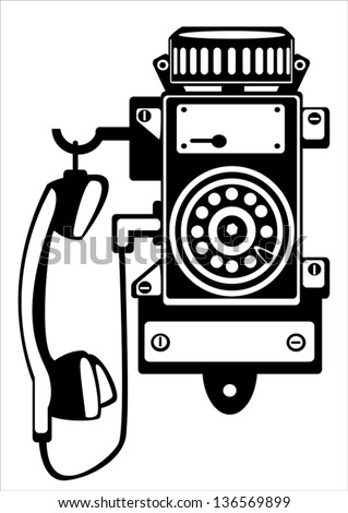 vector ship retro phone isolated on white background - stock vector