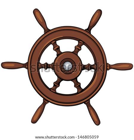 vector ship's wheel - stock vector