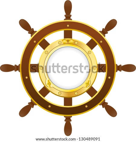 vector ship wheel with porthole - Separate layers for easy editing - stock vector