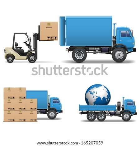 Vector Shipment Trucks and Forklift - stock vector