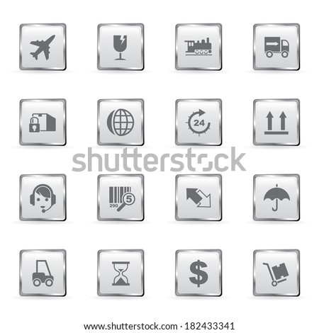 Vector shipping and logistics icons set.  - stock vector