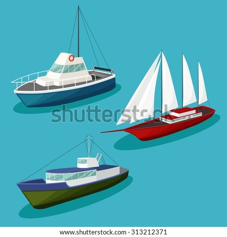 Vector Ships image design set for your illustration, postcards, poster, labels, stickers and other design needs.  - stock vector