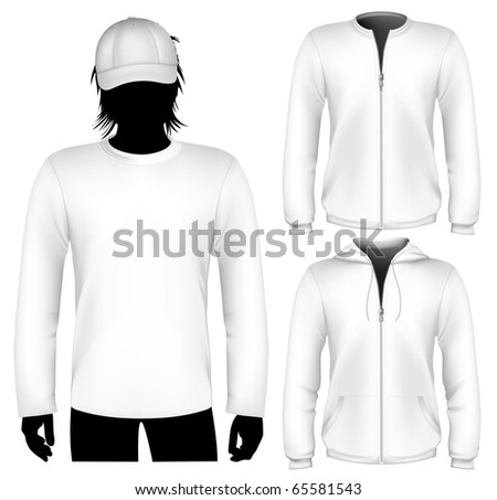 Vector. Shirt and sweatshirt design template with human body silhouette. - stock vector