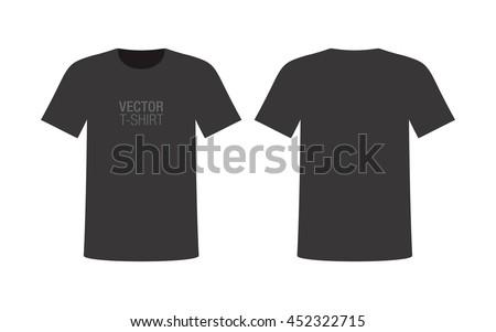 Vector vneck tshirt mockup mens black stock vector for T shirt mockup front and back