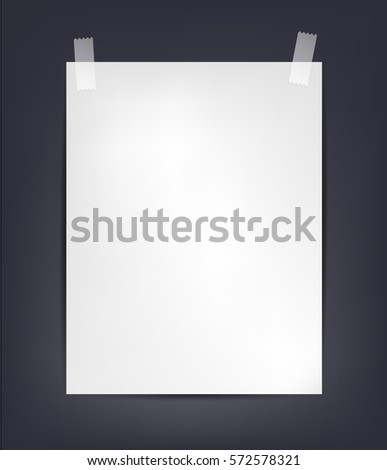 Vector shit of A4 paper with tape on dark background, close up of a white note illustration