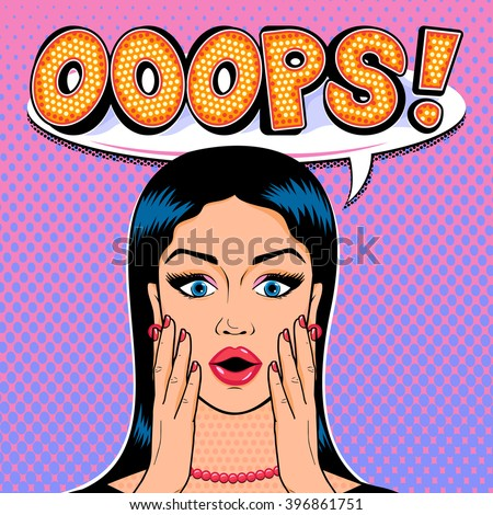 Vector shocked woman face with speech cloud and message OOOPS in pop art comics style. - stock vector