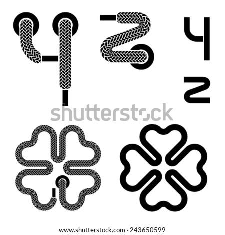 vector shoelace alphabet lower case letters y z quarterfoil - stock vector
