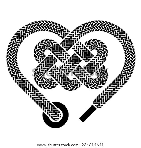 vector shoelace celtic heart black symbol - stock vector