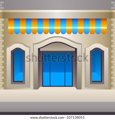 Vector shop facade, front view - stock vector