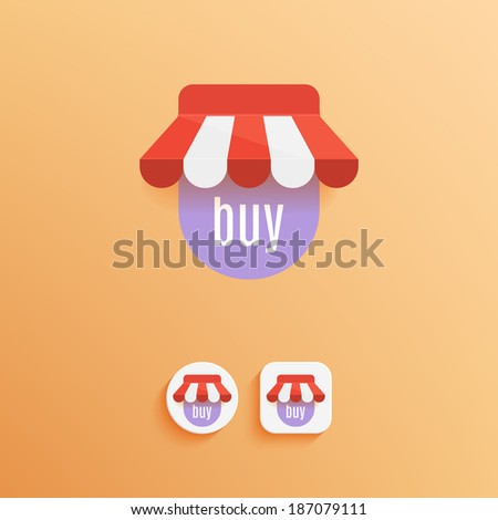 Vector Shop Icon. Examples of round and square buttons. Vector illustration EPS10. - stock vector