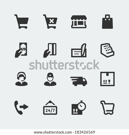 Vector shopping and e-store mini icons set - stock vector