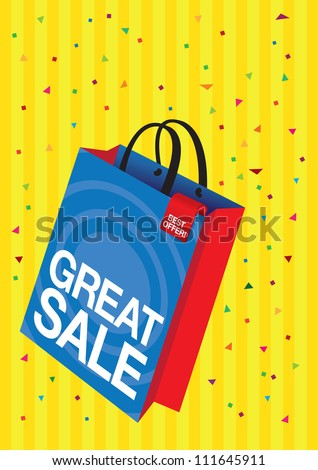 Vector shopping bag with printed sale copy with confetti.