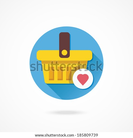 Vector Shopping Basket and Heart Shape Icon Favorite Goods Concept - stock vector
