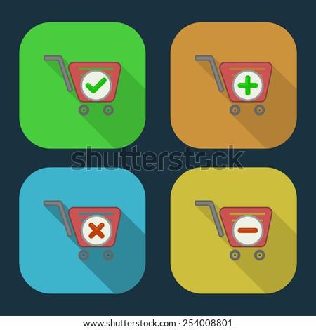 Vector shopping basket icon.  part 7 - stock vector