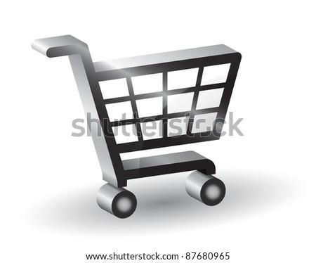 Vector shopping basket sign, 3D - stock vector