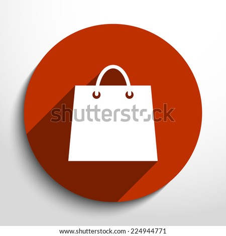 Vector shopping basket web flat icon in circle  - stock vector