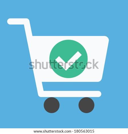 Vector Shopping Cart and Check Mark Icon - stock vector