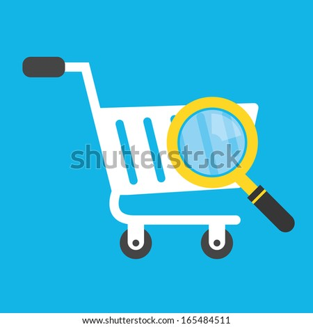 Vector Shopping Cart and Magnifying Glass Icon - stock vector