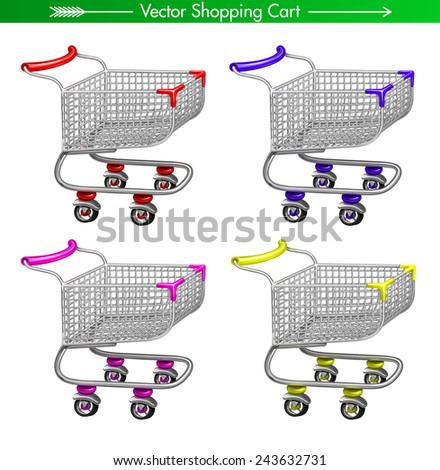 Vector Shopping Cart concept: red, blue, yellow and pink