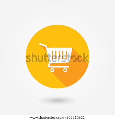 Vector shopping cart flat icon - stock vector
