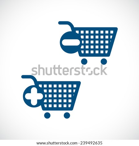 Vector shopping cart icon with a plus sign and minus sign. - stock vector