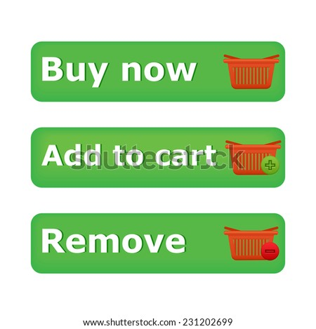 Vector shopping cart item - add,buy,remove buttons - stock vector