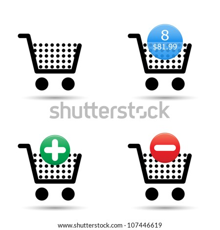 "Vector shopping cart trolley icons set. Includes ""empty cart"", ""filled cart"" with item count and valuation, ""add to cart"" and ""remove from cart"" icons. EPS10. - stock vector"