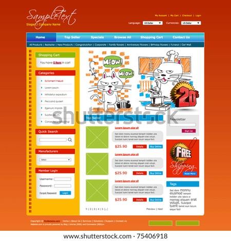 Vector Shopping Cart Website Design Template - stock vector