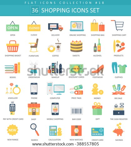 Vector shopping color flat icon set. Elegant style design. Shopping icons set, Shopping icons illustration, Shopping flat color icons, Shopping icons isolated - stock vector