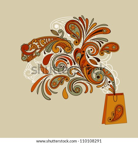 vector shopping concept with a shopping bag and floral swirl paisley elements flying from it  paisley elements,  eps 8 fully editable file