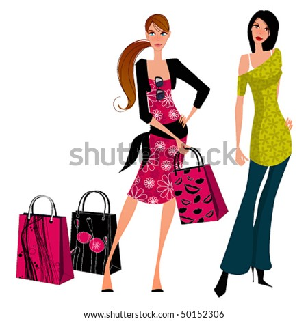 Vector shopping girls - stock vector