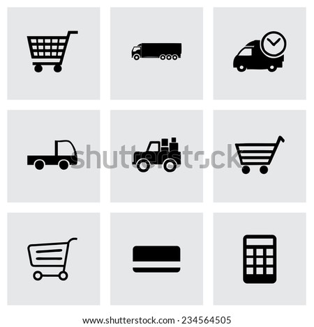 Vector shopping icon set on grey background