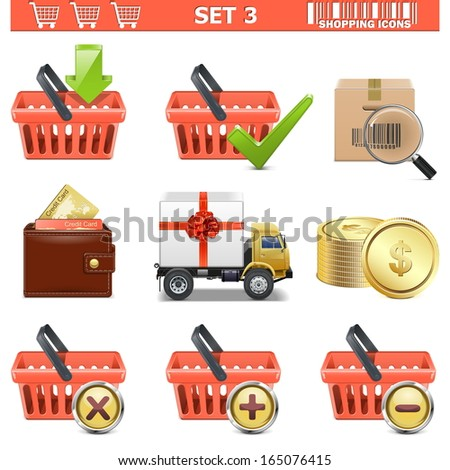 Vector Shopping Icons Set 3 - stock vector