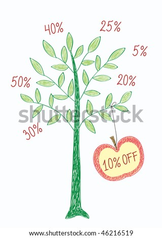 Vector shopping illustration in doodle style, you can choose the required number for discount - stock vector