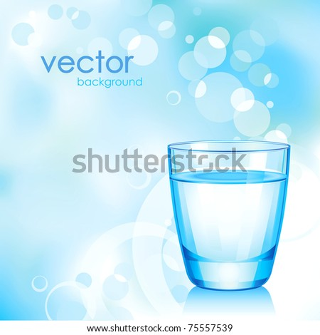 Vector short blue glass with water.