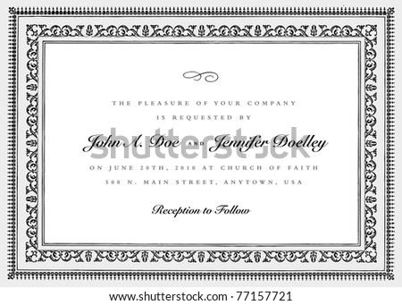 Vector Short Ornate Vintage Frame. Easy to edit. Perfect for invitations or announcements. - stock vector
