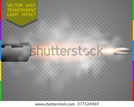 Vector shot flash special light effect. Bullet flew out of the barrel with glow spark and smoke on transparent background. Shooting flare moment element   - stock vector