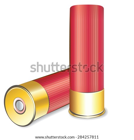 Vector shotgun shell isolated on white background - stock vector