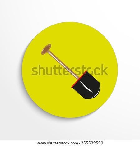 Vector shovel web flat icon. - stock vector