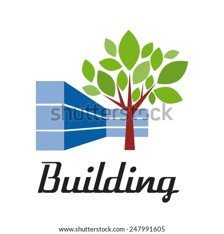 Vector sign building with tree - stock vector