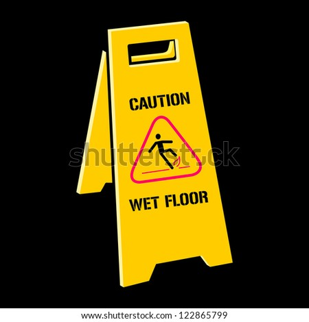 Vector sign caution wet floor - stock vector