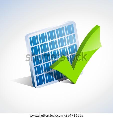 Vector sign check solar panel - stock vector