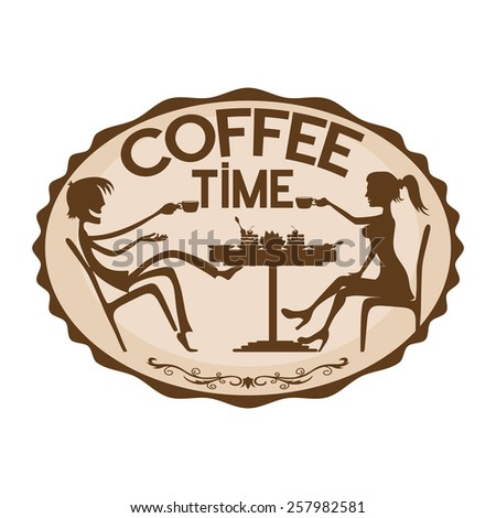 Vector sign. Coffee time. - stock vector