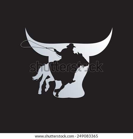 Vector sign cowboy on black background - stock vector