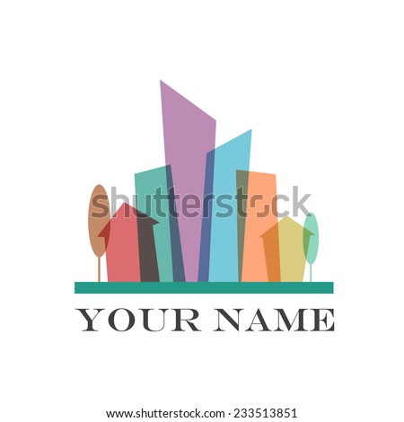 Vector sign flat city - stock vector