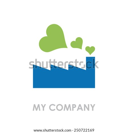 Vector sign green factory with hearts - stock vector