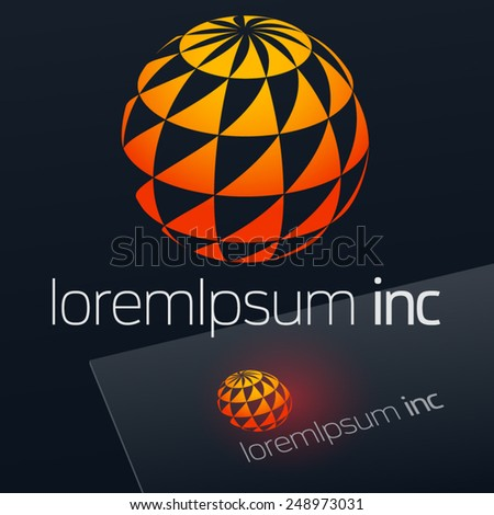 Vector sign in sphere shape. Logo for Business, Media, Technology