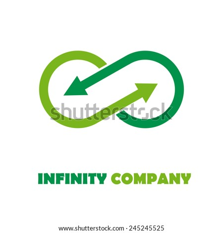 Vector sign infinite with arrows. Green recycling - stock vector
